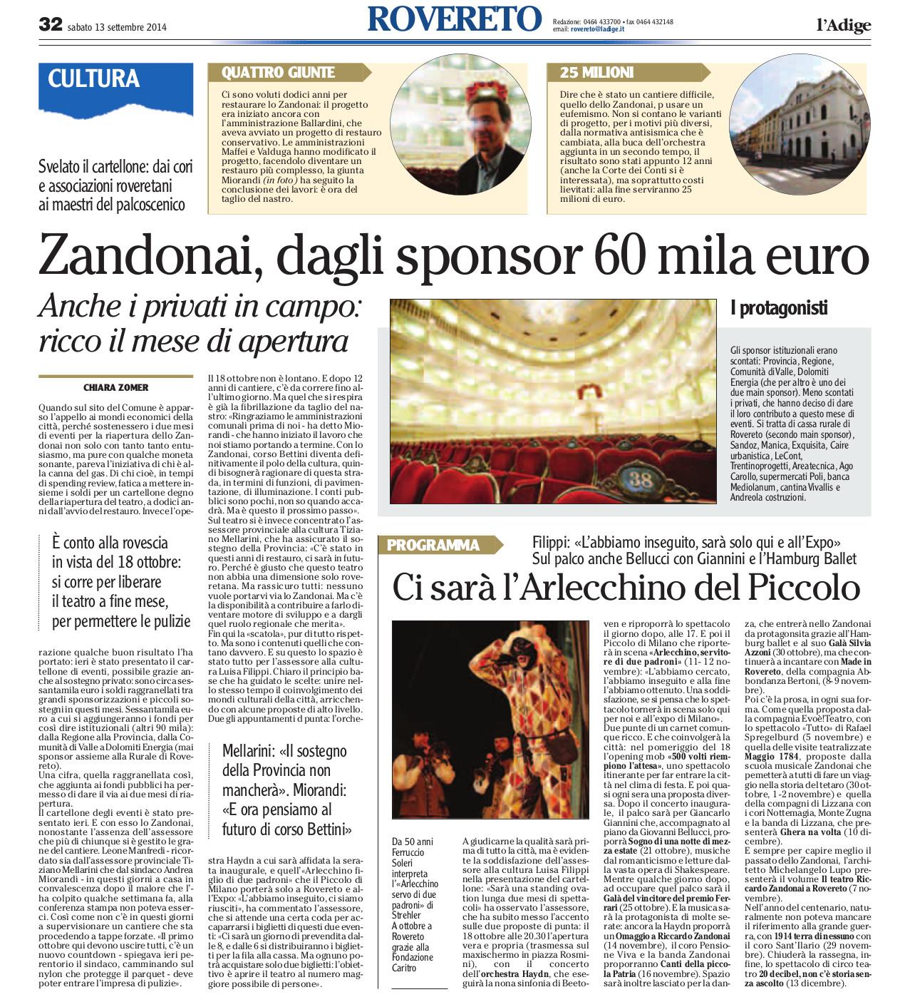 Fonte: l'Adige, 13/09/2014