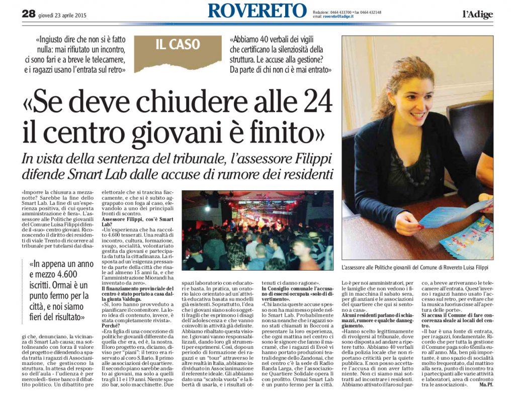 """Adige: """"Se deve chiudere alle 24 il centro giovani è fnito"""""""